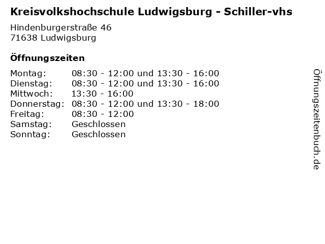 Kreisvolkshochschule Ludwigsburg - Schiller-vhs in Ludwigsburg: Adresse und Öffnungszeiten