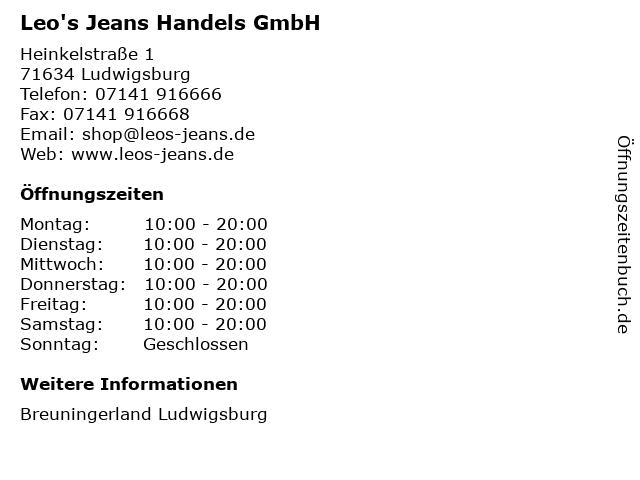 Leo's Jeans Handels GmbH in Ludwigsburg: Adresse und Öffnungszeiten