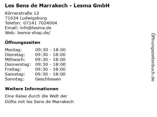 Les Sens de Marrakech - Lesma GmbH in Ludwigsburg: Adresse und Öffnungszeiten