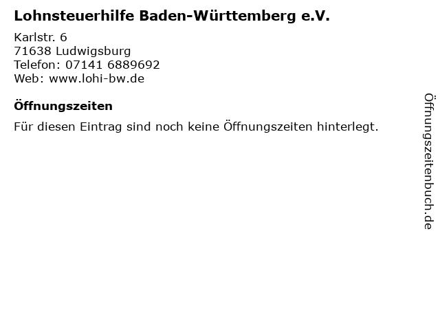 Lohnsteuerhilfe Baden-Württemberg e.V. in Ludwigsburg: Adresse und Öffnungszeiten
