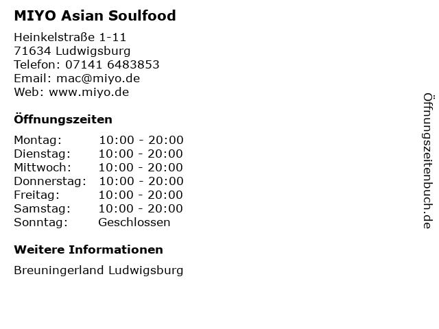 MIYO Asian Soulfood in Ludwigsburg: Adresse und Öffnungszeiten
