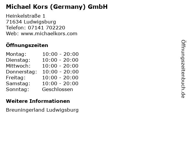 Michael Kors (Germany) GmbH in Ludwigsburg: Adresse und Öffnungszeiten