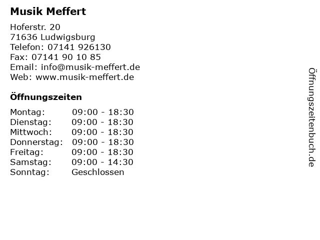 Musik Meffert in Ludwigsburg: Adresse und Öffnungszeiten