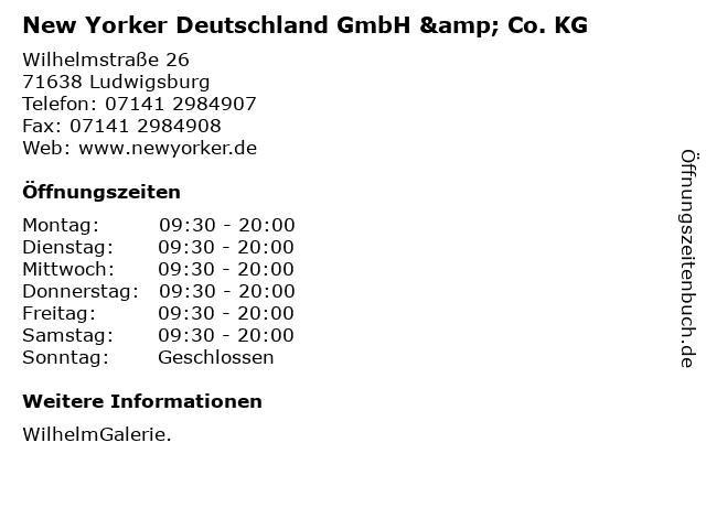 New Yorker Deutschland GmbH & Co. KG in Ludwigsburg: Adresse und Öffnungszeiten