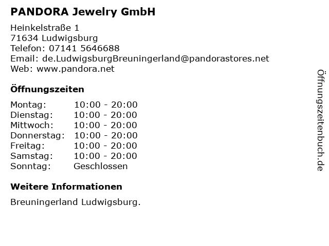 PANDORA Jewelry GmbH in Ludwigsburg: Adresse und Öffnungszeiten