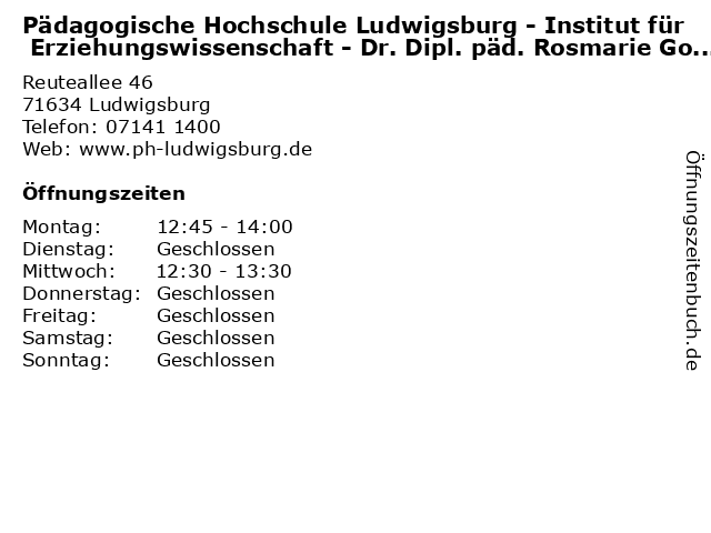 Pädagogische Hochschule Ludwigsburg - Institut für Erziehungswissenschaft - Dr. Dipl. päd. Rosmarie Godel-Gaßner in Ludwigsburg: Adresse und Öffnungszeiten