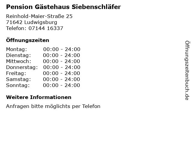 Pension Gästehaus Siebenschläfer in Ludwigsburg: Adresse und Öffnungszeiten