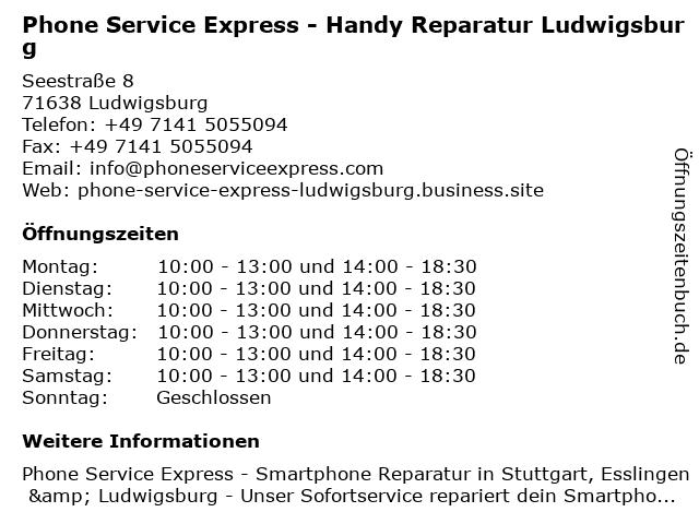 Phone Service Express - Handy Reparatur Ludwigsburg in Ludwigsburg: Adresse und Öffnungszeiten
