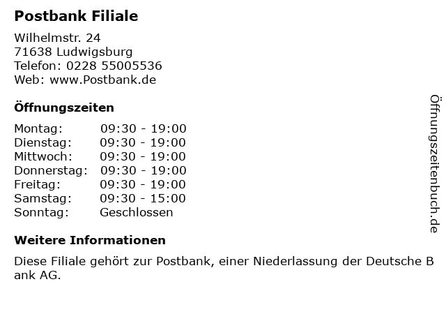Postbank und Postfiliale in Ludwigsburg: Adresse und Öffnungszeiten