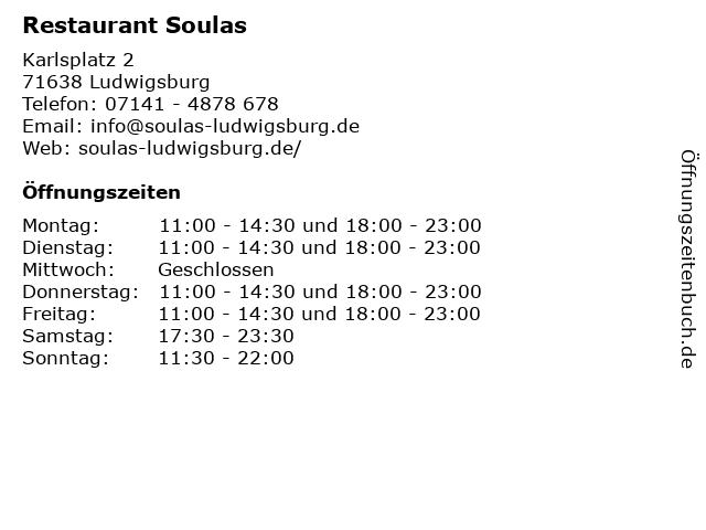 Restaurant Soulas in Ludwigsburg: Adresse und Öffnungszeiten