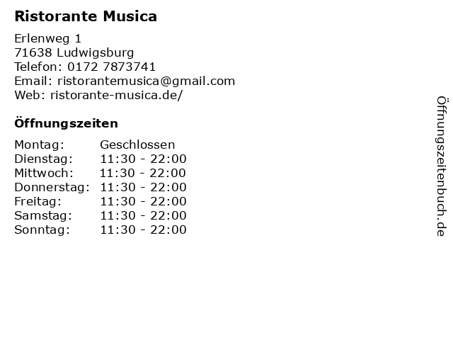 Ristorante Musica in Ludwigsburg: Adresse und Öffnungszeiten
