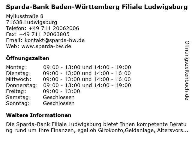 Sparda-Bank Baden-Württemberg Filiale Ludwigsburg in Ludwigsburg: Adresse und Öffnungszeiten