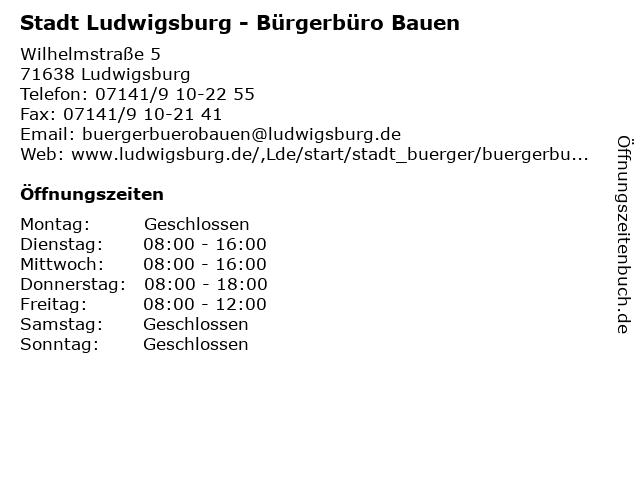 Stadt Ludwigsburg - Bürgerbüro Bauen in Ludwigsburg: Adresse und Öffnungszeiten