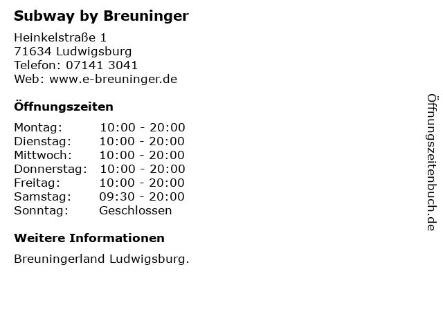 Subway by Breuninger in Ludwigsburg: Adresse und Öffnungszeiten
