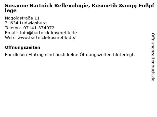Susanne Bartnick Reflexologie, Kosmetik & Fußpflege in Ludwigsburg: Adresse und Öffnungszeiten