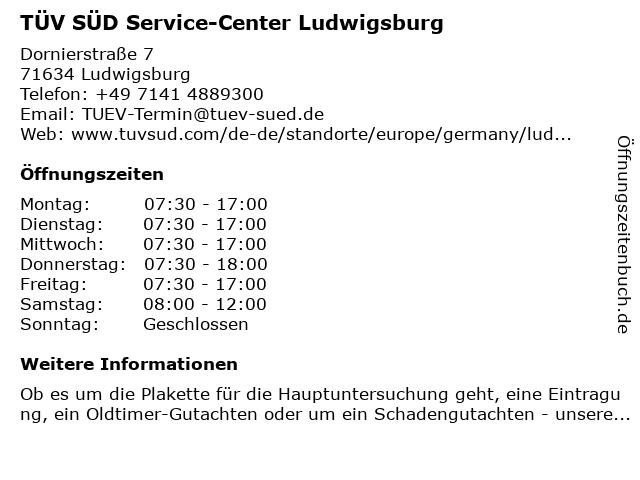 TÜV SÜD Service-Center Ludwigsburg in Ludwigsburg: Adresse und Öffnungszeiten