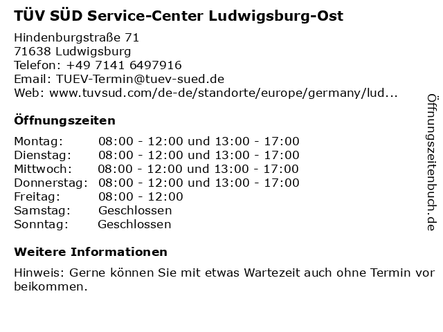 TÜV SÜD Service-Center Ludwigsburg-Ost in Ludwigsburg: Adresse und Öffnungszeiten