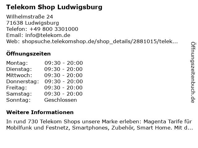 Telekom Shop Ludwigsburg in Ludwigsburg: Adresse und Öffnungszeiten