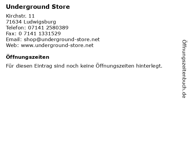 Underground Store in Ludwigsburg: Adresse und Öffnungszeiten