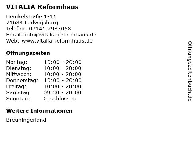 VITALIA Reformhaus in Ludwigsburg: Adresse und Öffnungszeiten