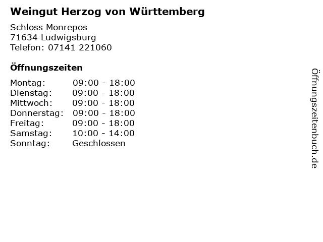 Weingut Herzog von Württemberg in Ludwigsburg: Adresse und Öffnungszeiten