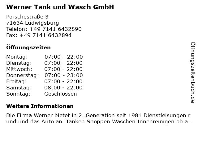 Werner Tank und Wasch GmbH in Ludwigsburg: Adresse und Öffnungszeiten