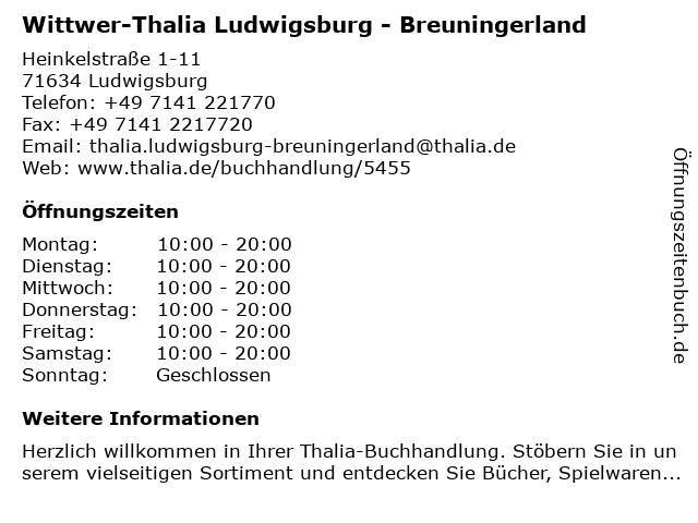 Wittwer-Thalia Ludwigsburg - Breuningerland in Ludwigsburg: Adresse und Öffnungszeiten