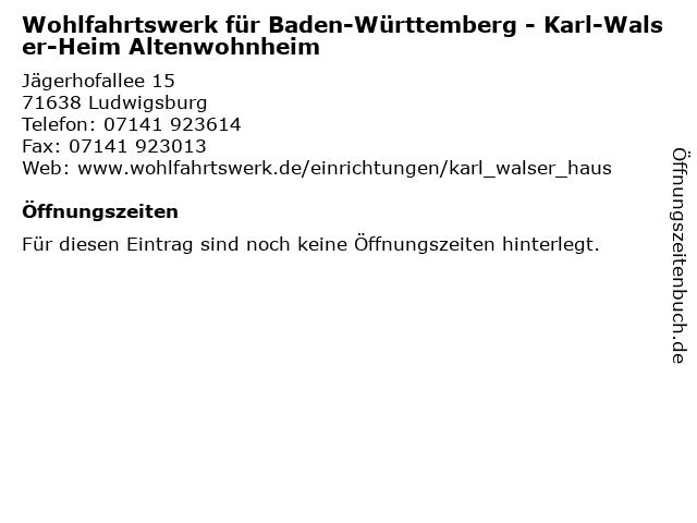 Wohlfahrtswerk für Baden-Württemberg - Karl-Walser-Heim Altenwohnheim in Ludwigsburg: Adresse und Öffnungszeiten