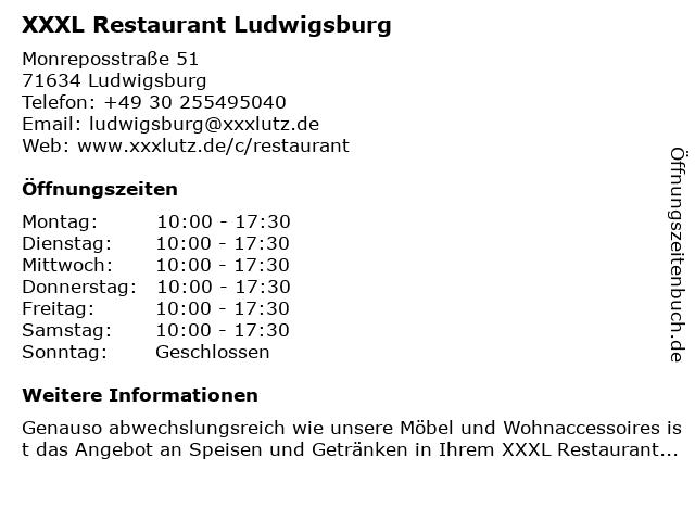 ᐅ öffnungszeiten Xxxl Restaurant Ludwigsburg Monreposstraße 51