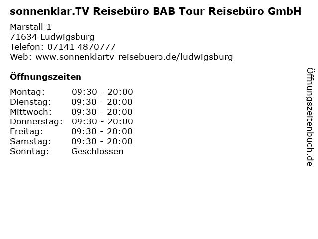 sonnenklar.TV Reisebüro BAB Tour Reisebüro GmbH in Ludwigsburg: Adresse und Öffnungszeiten