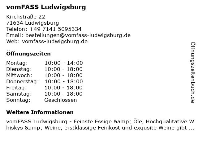 Vom Fass - Feinkost und Spirituosen in Ludwigsburg: Adresse und Öffnungszeiten