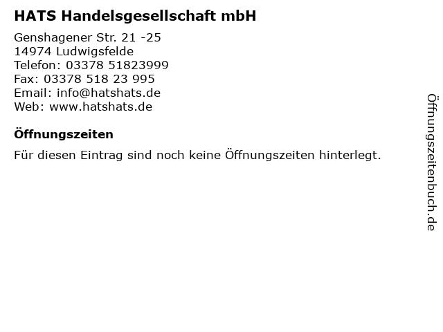 HATS Handelsgesellschaft mbH in Ludwigsfelde: Adresse und Öffnungszeiten
