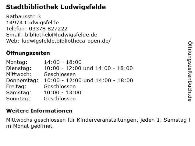 Stadtbibliothek Ludwigsfelde in Ludwigsfelde: Adresse und Öffnungszeiten