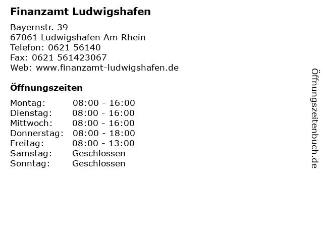 Finanzamt Ludwigshafen in Ludwigshafen Am Rhein: Adresse und Öffnungszeiten