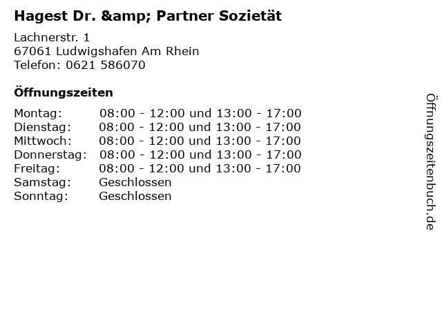 Hagest Dr. & Partner Sozietät in Ludwigshafen Am Rhein: Adresse und Öffnungszeiten