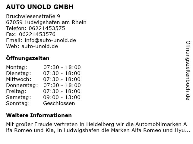 AUTO UNOLD GMBH in Ludwigshafen am Rhein: Adresse und Öffnungszeiten