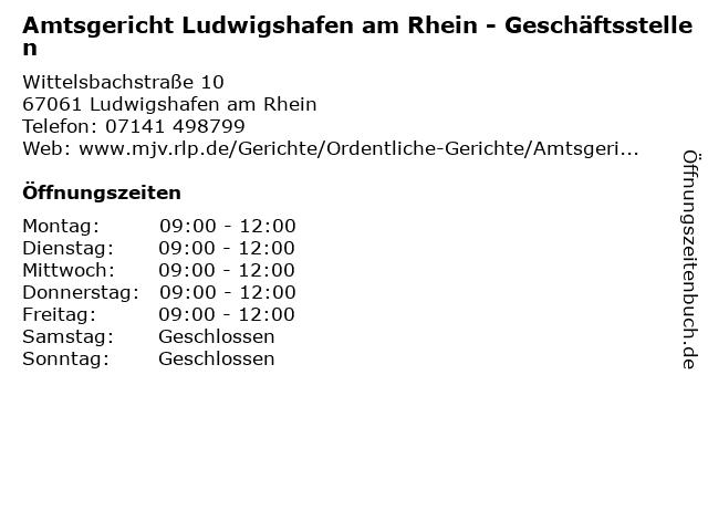 Amtsgericht Ludwigshafen am Rhein - Geschäftsstellen in Ludwigshafen am Rhein: Adresse und Öffnungszeiten