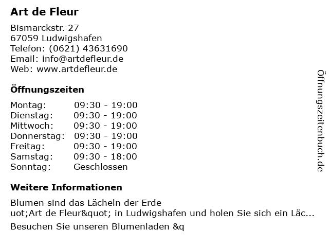 Art de Fleur in Ludwigshafen: Adresse und Öffnungszeiten