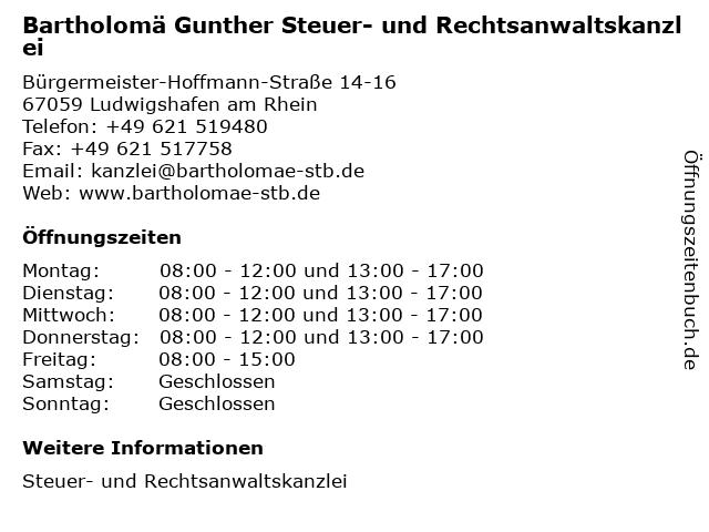 Bartholomä Gunther Steuer- und Rechtsanwaltskanzlei in Ludwigshafen am Rhein: Adresse und Öffnungszeiten