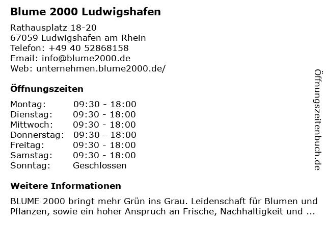 Blume 2000 Ludwigshafen in Ludwigshafen am Rhein: Adresse und Öffnungszeiten