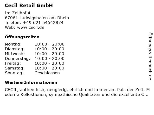 Cecil Retail GmbH in Ludwigshafen am Rhein: Adresse und Öffnungszeiten