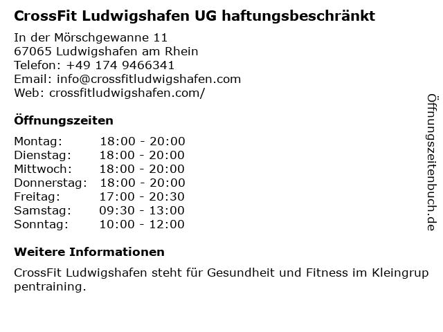 CrossFit Ludwigshafen UG haftungsbeschränkt in Ludwigshafen am Rhein: Adresse und Öffnungszeiten