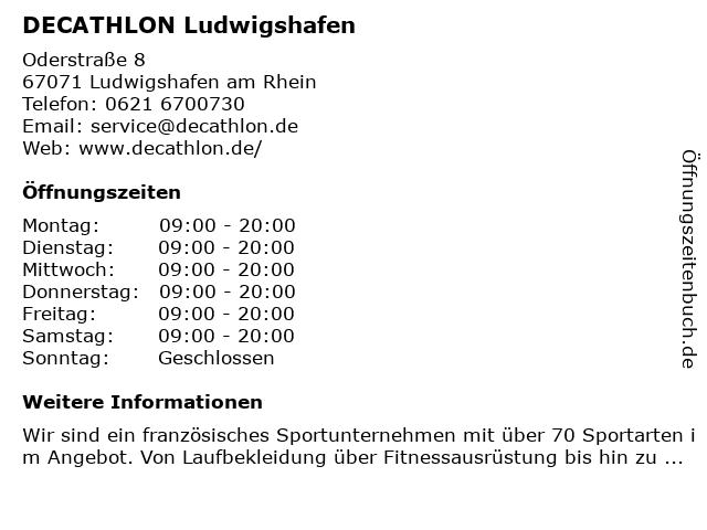 DECATHLON Ludwigshafen in Ludwigshafen am Rhein: Adresse und Öffnungszeiten