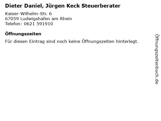 Dieter Daniel, Jürgen Keck Steuerberater in Ludwigshafen am Rhein: Adresse und Öffnungszeiten