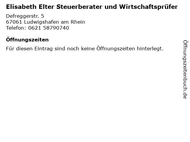 Elisabeth Elter Steuerberater und Wirtschaftsprüfer in Ludwigshafen am Rhein: Adresse und Öffnungszeiten
