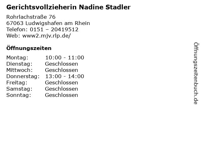 Gerichtsvollzieherin Nadine Stadler in Ludwigshafen am Rhein: Adresse und Öffnungszeiten