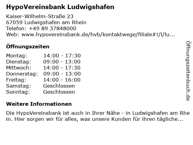 HypoVereinsbank Ludwigshafen in Ludwigshafen am Rhein: Adresse und Öffnungszeiten