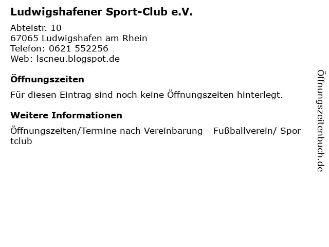 Ludwigshafener Sport-Club e.V. in Ludwigshafen am Rhein: Adresse und Öffnungszeiten