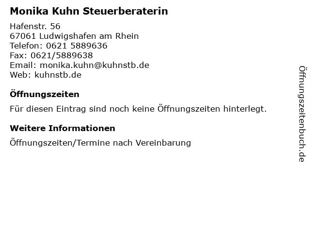 Monika Kuhn Steuerberaterin in Ludwigshafen am Rhein: Adresse und Öffnungszeiten
