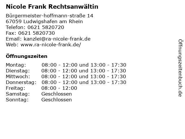 Nicole Frank Rechtsanwältin in Ludwigshafen am Rhein: Adresse und Öffnungszeiten